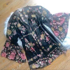 STYLE & CO Boho black + pink floral open kimono
